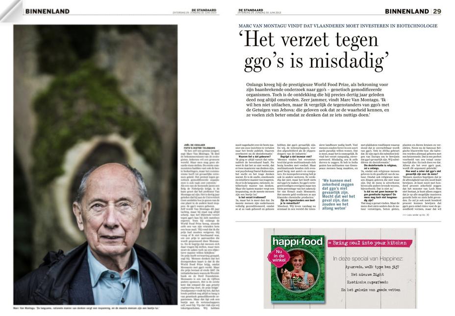 Interview in De Standaard met professor Van Montagu