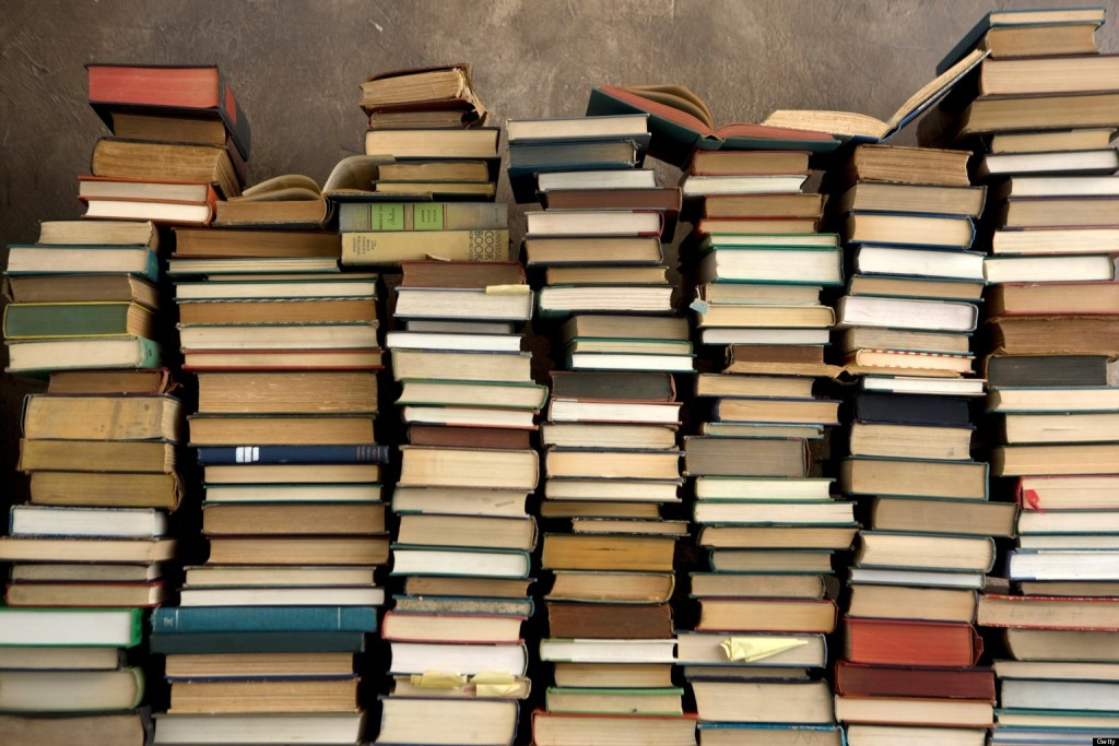 Een foto van echte boeken.